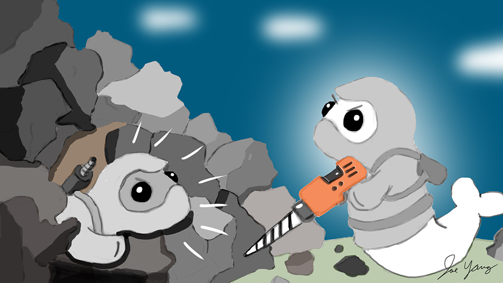 Ninja Seal helps his buddy who's been trapped under a pile of rocks