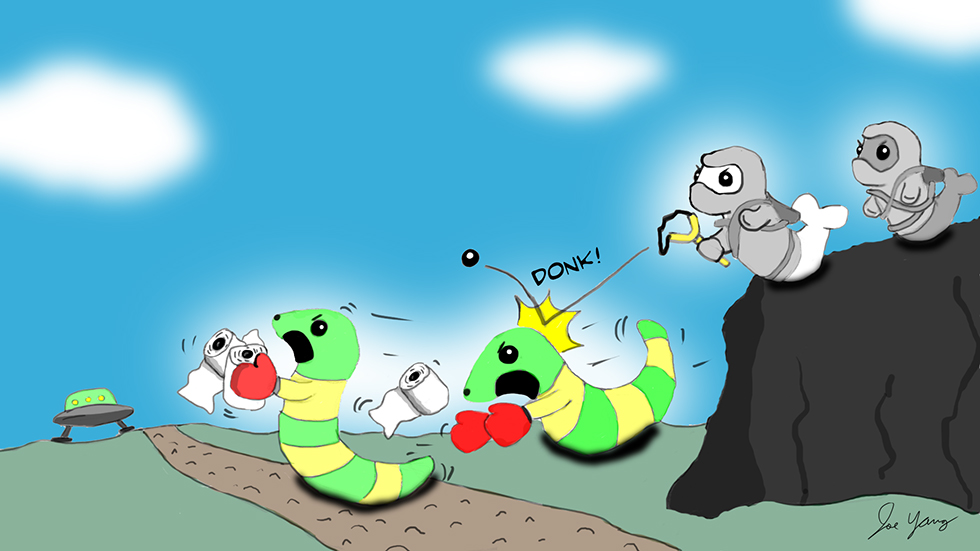 Ninja Seals take potshots at a pair of thieving aliens