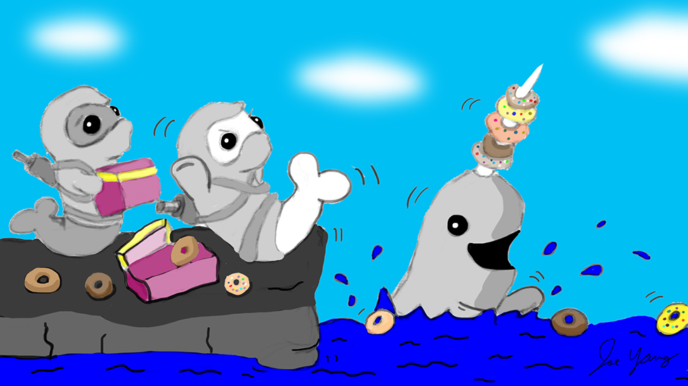 While at their secret donut gathering, the Ninja Seals are taken surprise by a mischievous narwhal