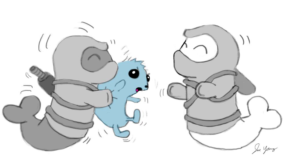The Ninja Seals find a weird blue thing, and can't help but want to squeeze it!