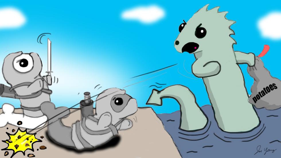 A grumpy sea monster throws potatoes at the Ninja Seals!