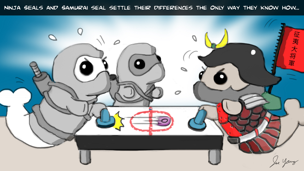 Ninja Seals and Samurai Seal settle their differences the only way they know how...