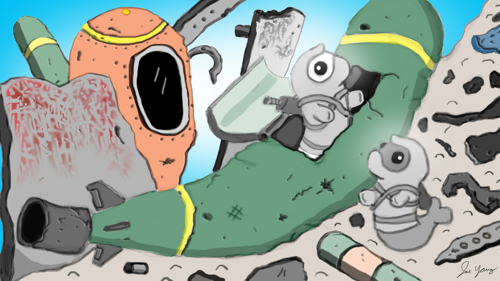 While exploring a junkyard, the Ninja Seals goof around in an abandoned torpedo