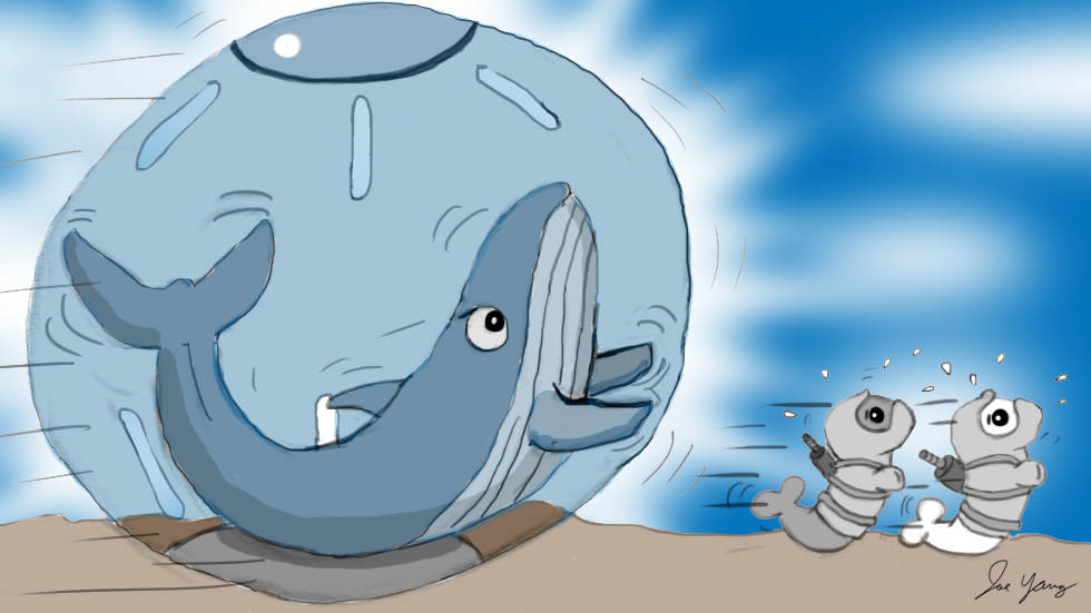 Wilbur the Angry Whale figures out a way to chase the Ninja Seals on land