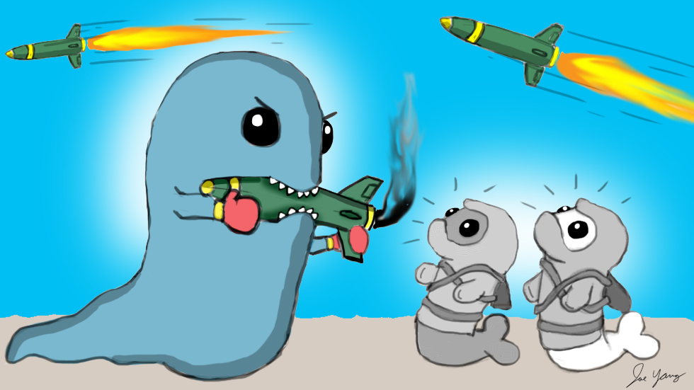 Ninja Seals look on as a slime monster attempts to eat a missile