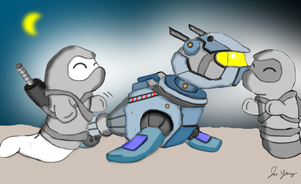 The Ninja Seals are happy to befriend a mech seal