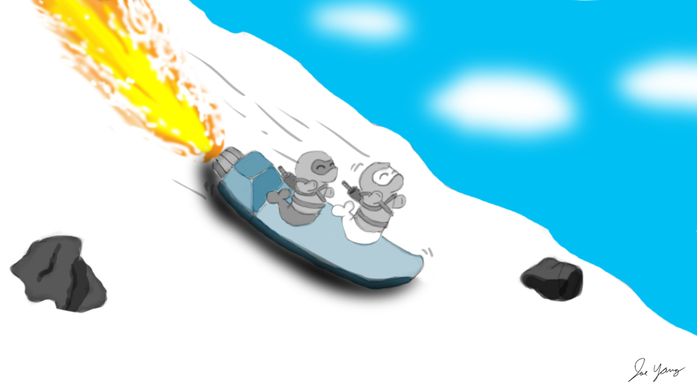 The Ninja Seals try out their rocket sled