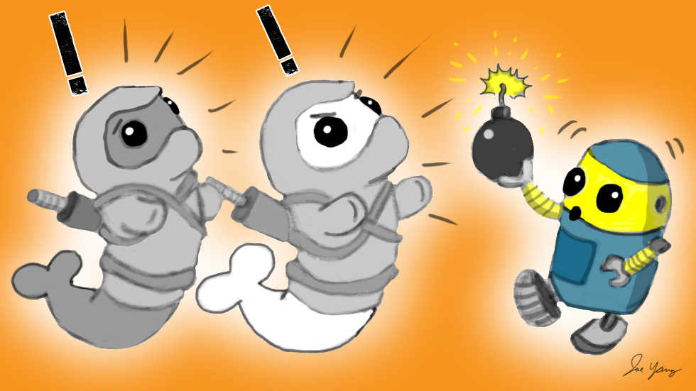 The Ninja Seals see that their robot friend doesn't know the difference between fireworks and high explosives