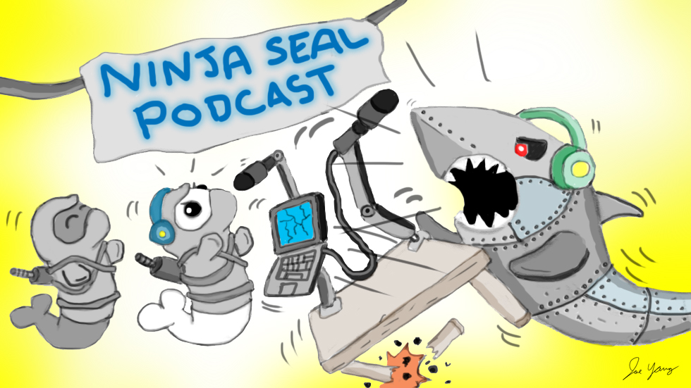 During a podcast show, the Ninja Seals and wacky robot shark have a rather animated discussion