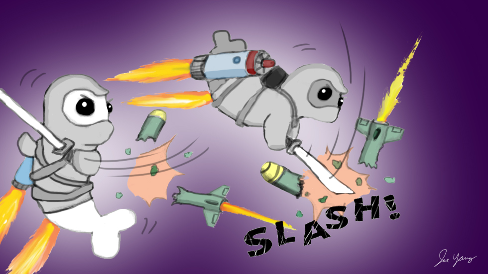While flying around on their jetpacks, the Ninja Seals slash up a few stray missiles...you know, just for fun