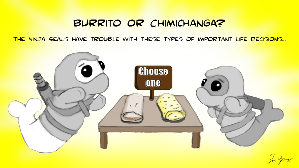 Burrito or Chimichanga? The Ninja Seals have trouble with these types of important life decisions