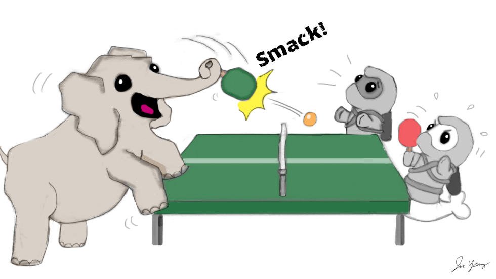 Ninja Seals are locked in an intense ping pong match against their elephant friend