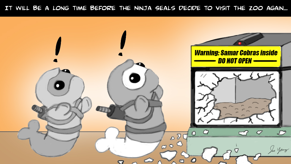 It'll be a long time before the Ninja Seals decide to visit the zoo again