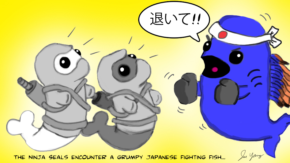 The Ninja Seals encounter the grumpy Japanese Fighting Fish!