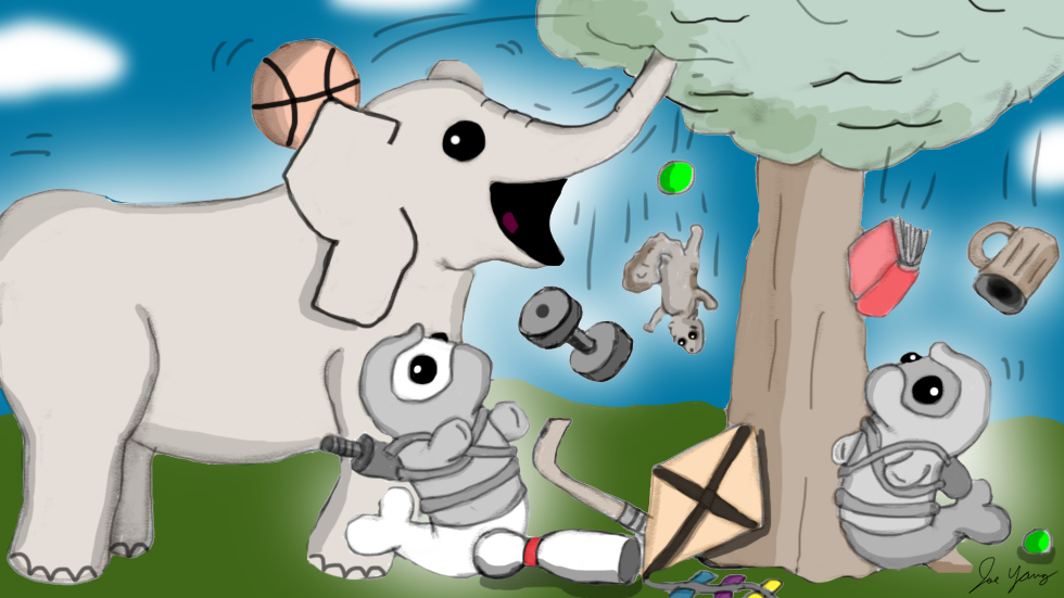 The Ninja Seals and Elephant are amazed at the amount of stuff hidden in that tree