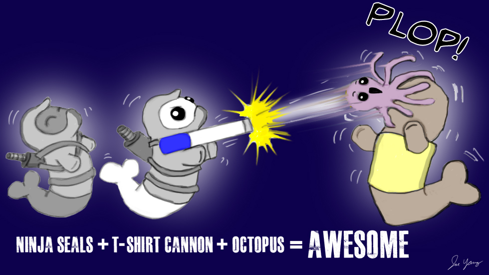 Ninja Seals + T-shirt cannon + octopus = AWESOME