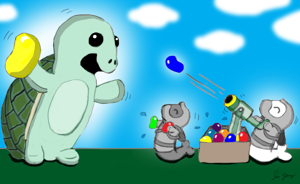 Ninja Seals and their turtle friend have their annual water balloon war