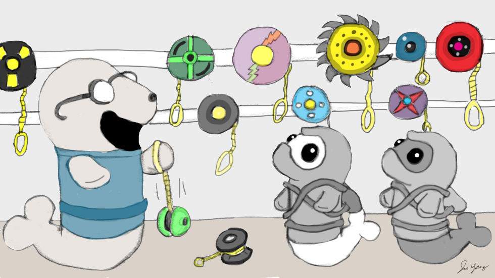 Ninja Seals marvel at their friend's yo-yo collection