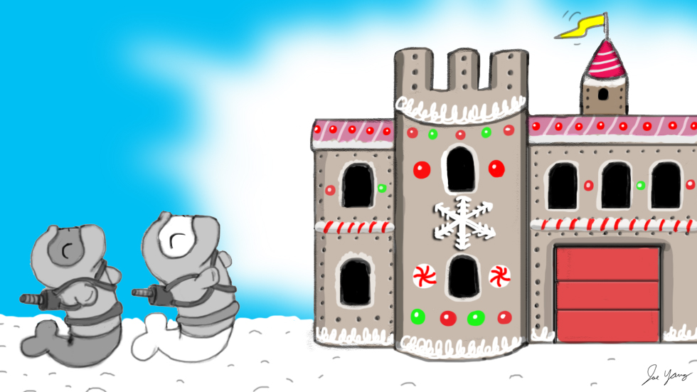 The Ninja Seals find a fun (and probably tasty) gingerbread castle