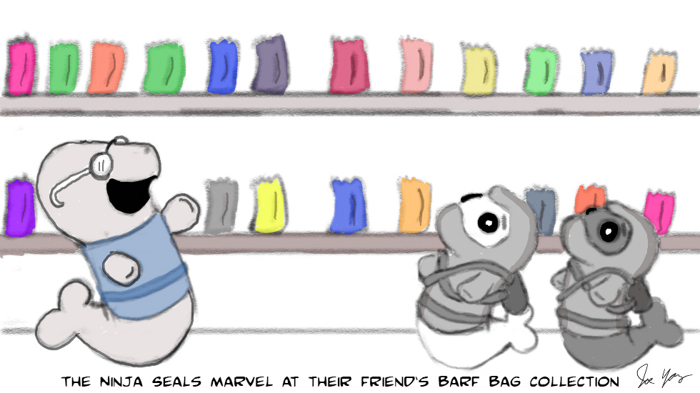 The Ninja Seals marvel at their friend's barf bag collection