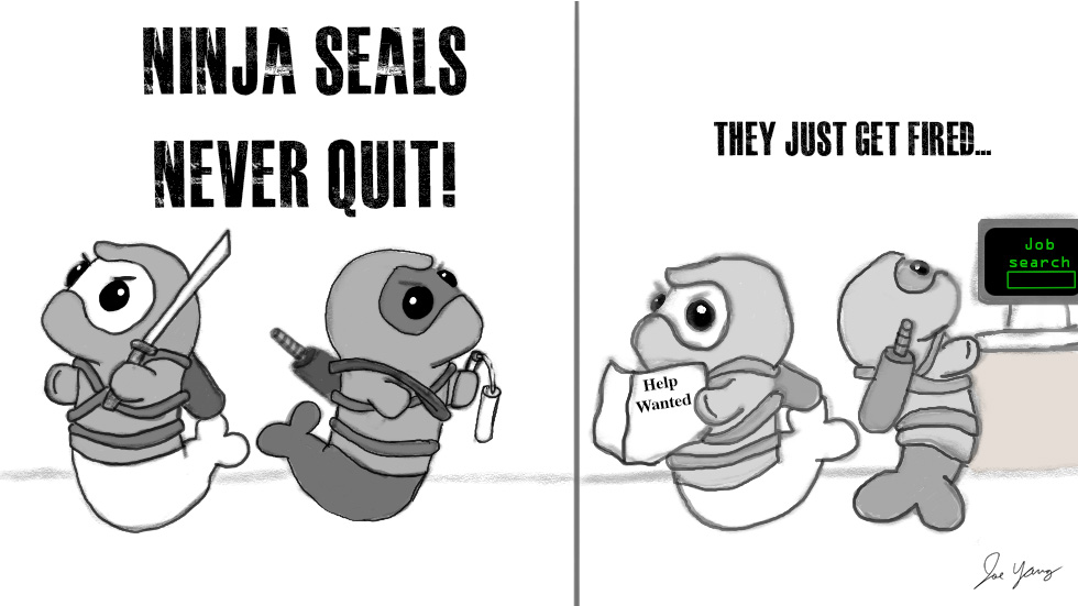 Ninja Seals never quit!  (They just get fired)