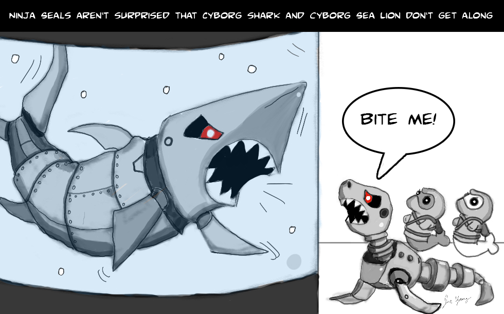 The Ninja Seals aren't surprised that Cyborg Shark & Cyborg Sea Lion don't get along