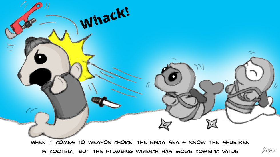 When it comes to weapon choice, the Ninja Seals know the shuriken is cooler, but the plumbing wrench has more comedic value