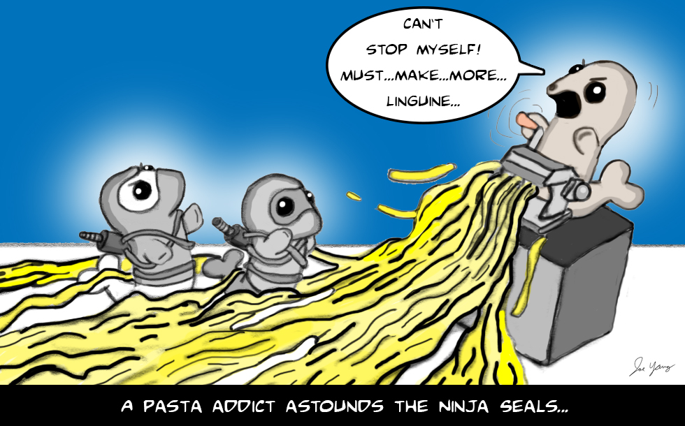 A pasta addict astounds the Ninja Seals