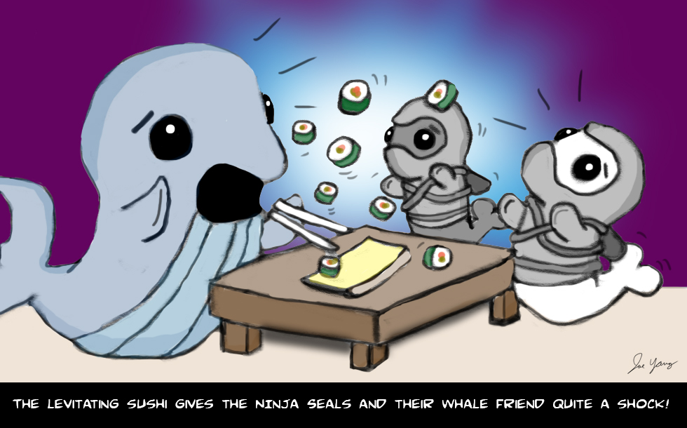 The levitating sushi gives the Ninja Seals and their whale friend quite a shock!