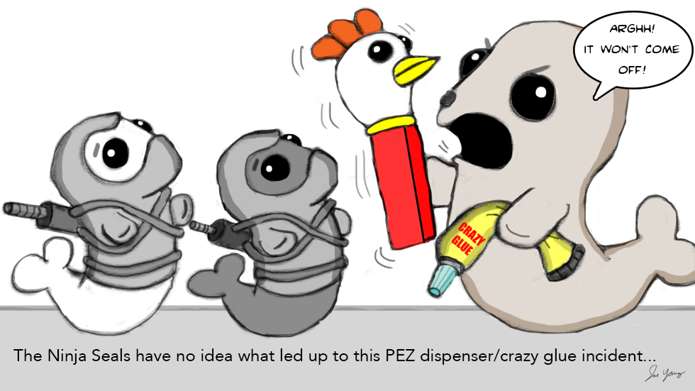 Ninja Seals have no idea what led up to this PEZ dispenser/crazy glue incident