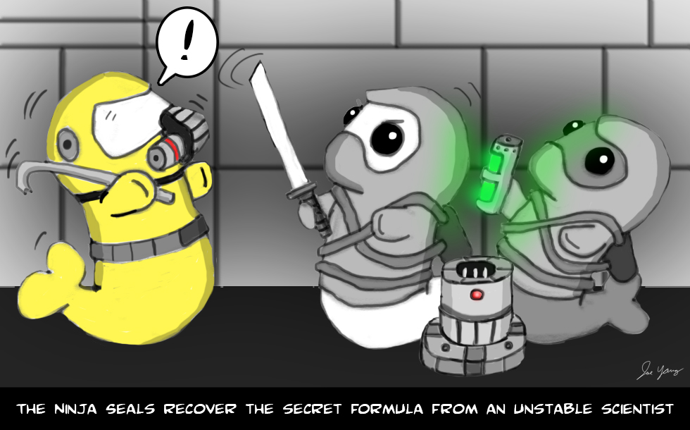 The Ninja Seals recover the secret formula from an unstable scientist