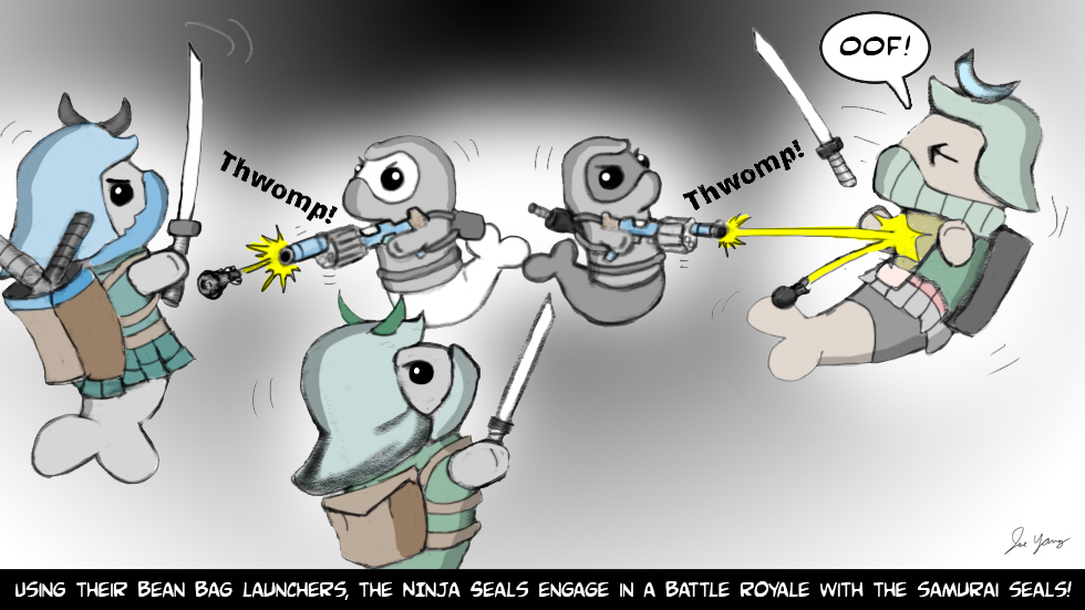 Using their bean bag launchers, the Ninja Seals engage in a battle royale with samurai seals!