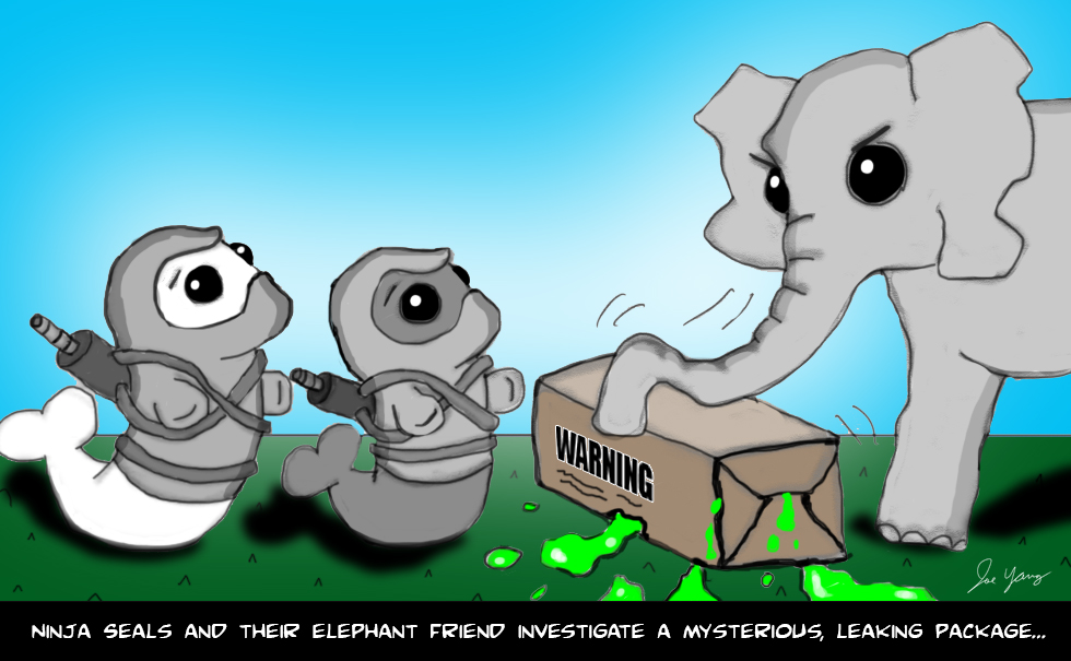 The Ninja Seals & their elephant friend investigate a mysterious, leaking package