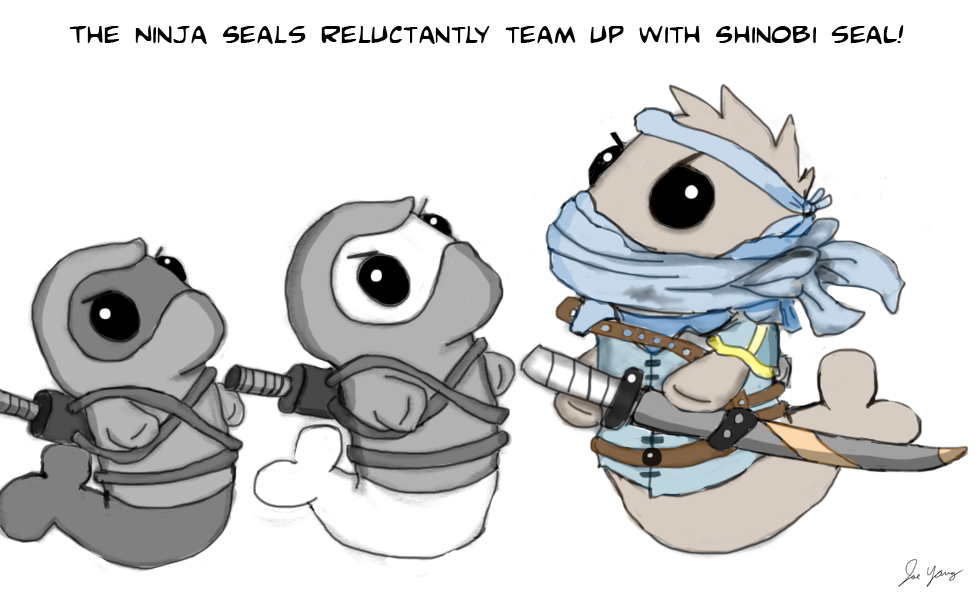 The Ninja Seals reluctantly team up with Shinobi Seal!