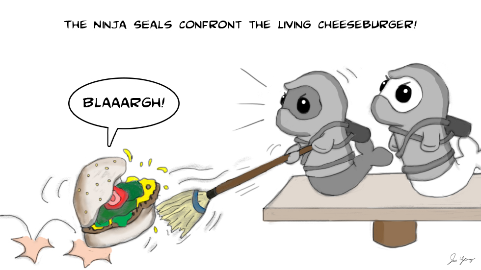 The Ninja Seals confront the living cheeseburger!