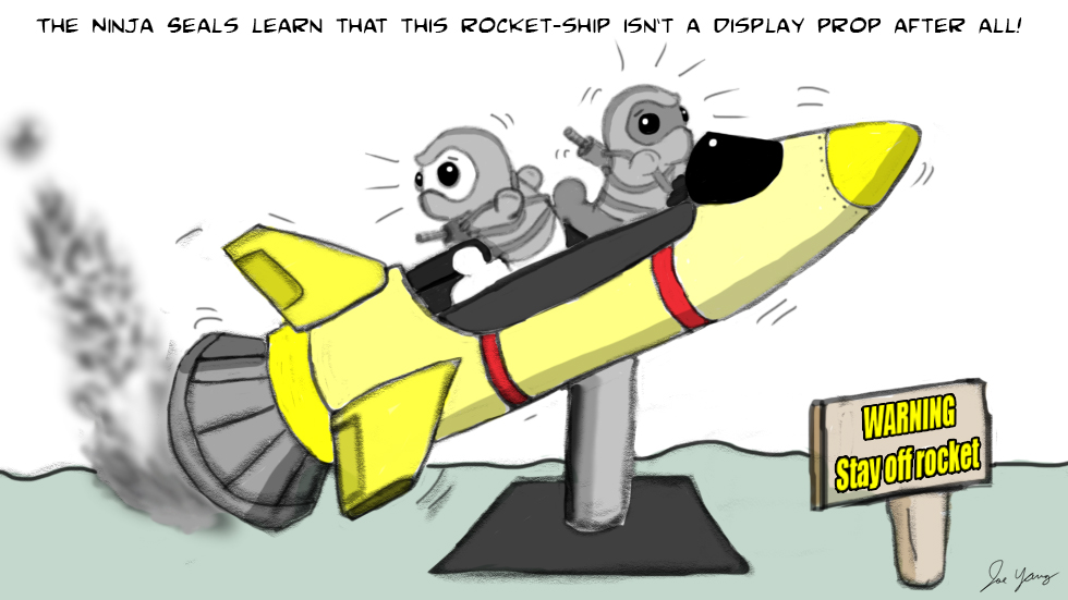 The Ninja Seals that learn this rocket-ship isn't a display prop after all!