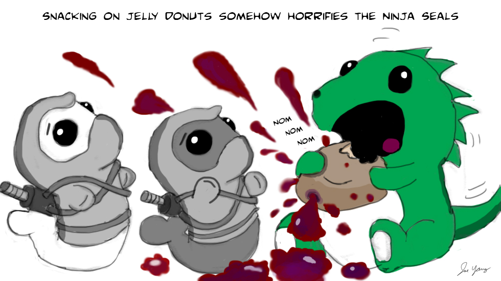 Snacking on jelly donuts somehow horrifies the Ninja Seals