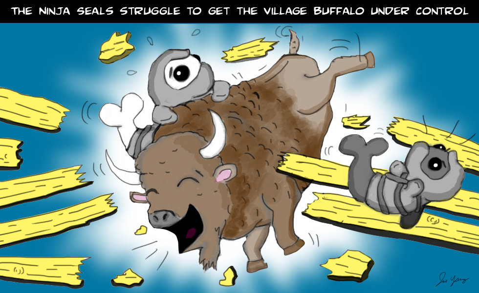 The Ninja Seals struggle to get the village buffalo under control