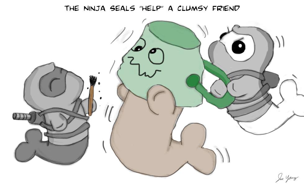 "The Ninja Seals ""help"" a clumsy friend"