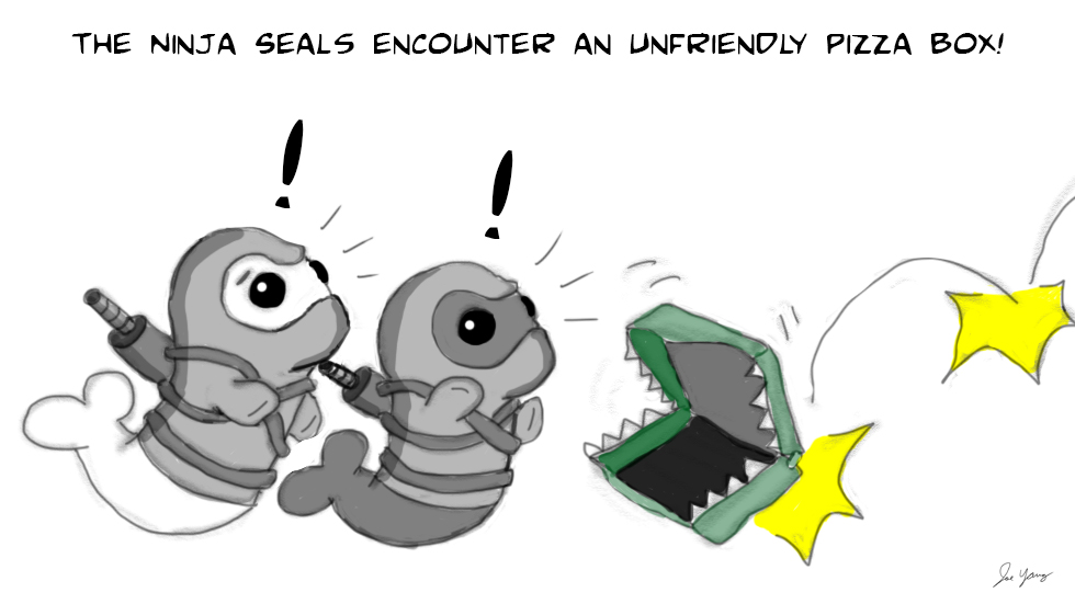 The Ninja Seals encounter an unfriendly pizza box