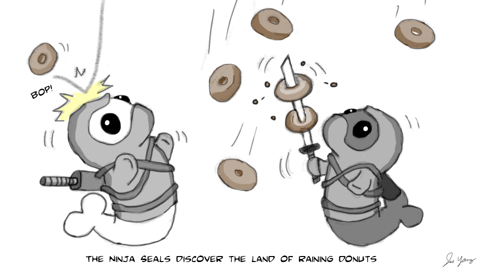 The Ninja Seals discover the Land of Raining Donuts