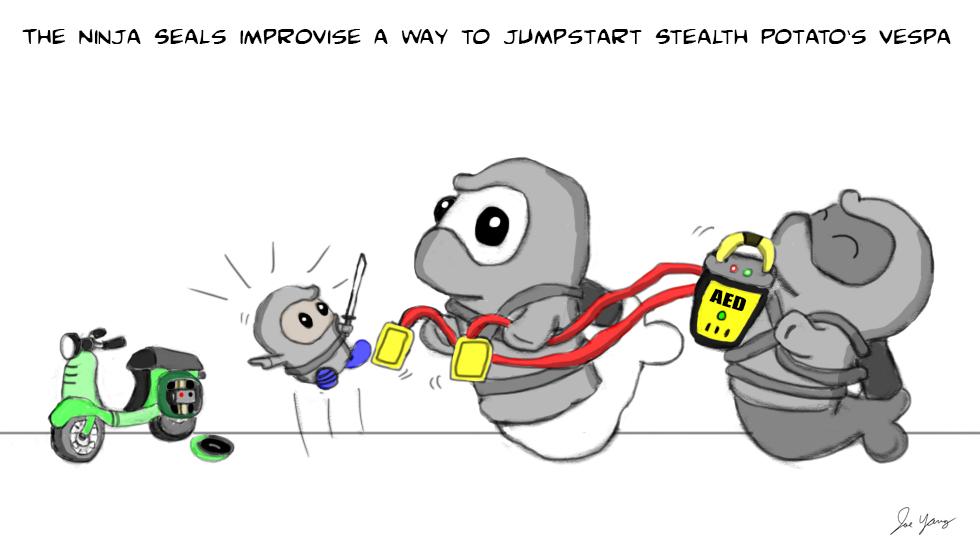 The Ninja Seals improvise a way to jumpstart Stealth Potato's vespa...
