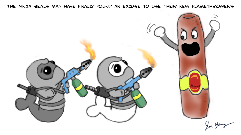 The Ninja Seals may have finally found an excuse to use their new flamethrowers