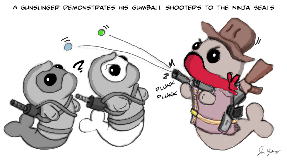 A gunslinger demonstrates his gumball shooters to the Ninja Seals
