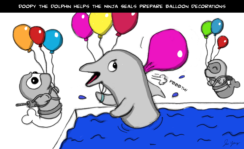 Doopy the Dolphin helps the Ninja Seals prepare balloon decorations
