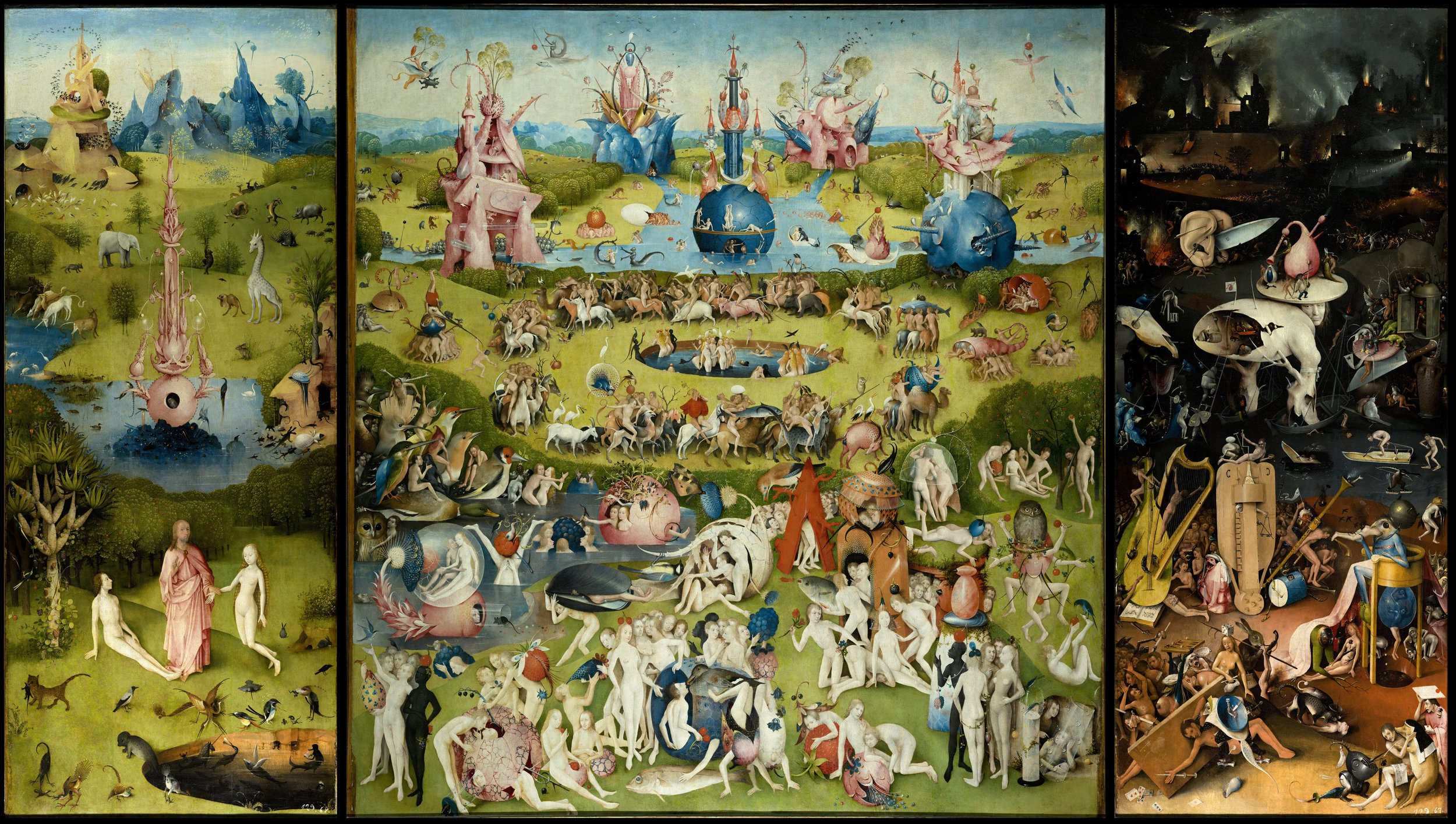 "In the triptych ""The Garden of Earthly Delights"" by Hieronymus Bosch (ca. 1500) nothing is indigenous and cultivated. The real secret of his magnificent nightmares and daydreams has still to be disclosed."