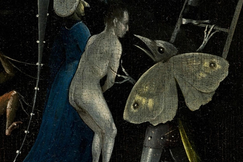"""Dettaglio della farfalla-mostro nel dipinto """"The Garden of Earthly Delights"""",Hieronymus Bosch, ca. 1500"""