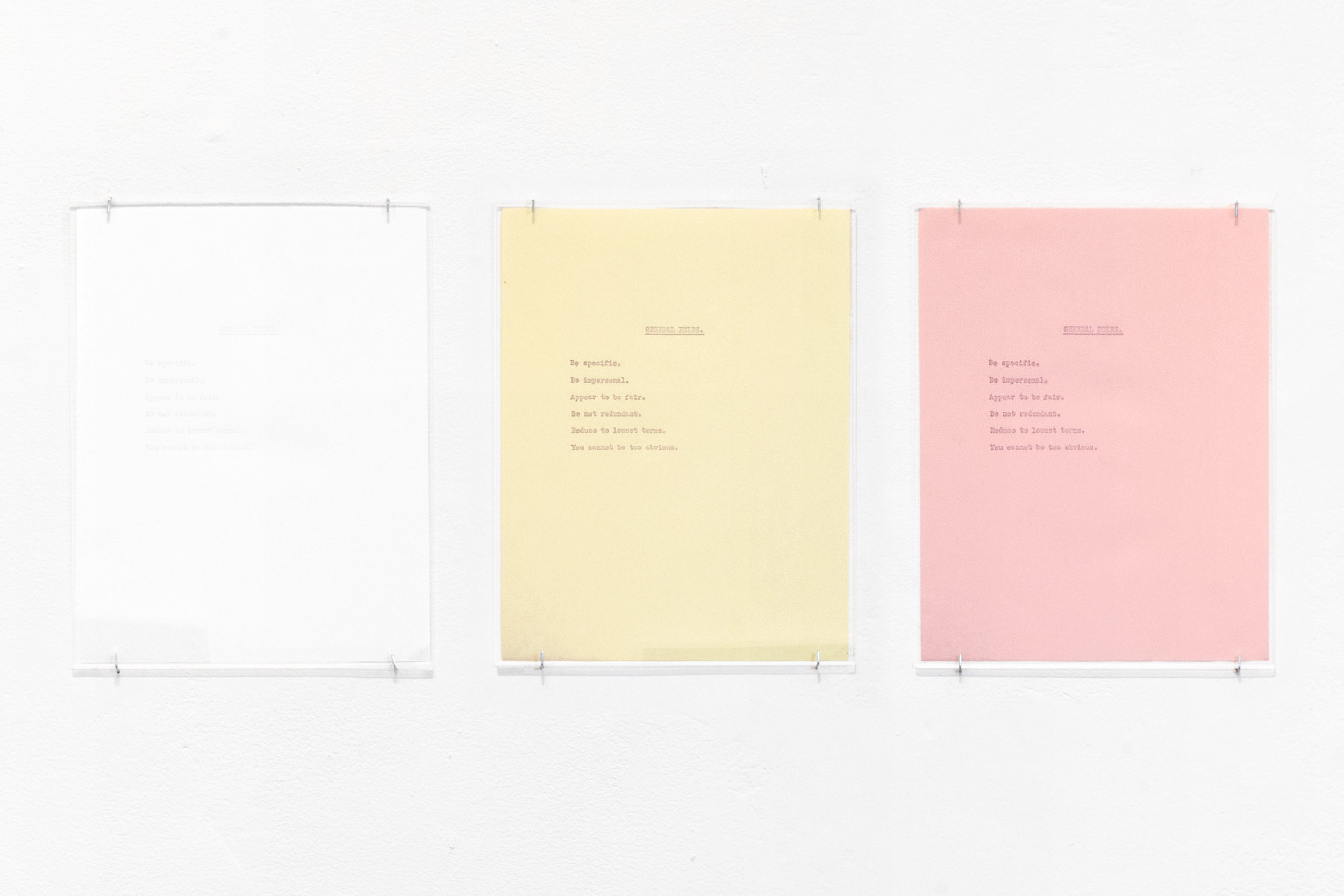 General Rules (1923)  2018 Blind debossment on 3-part carbonless paper Triptych of 11 x 8.5 in