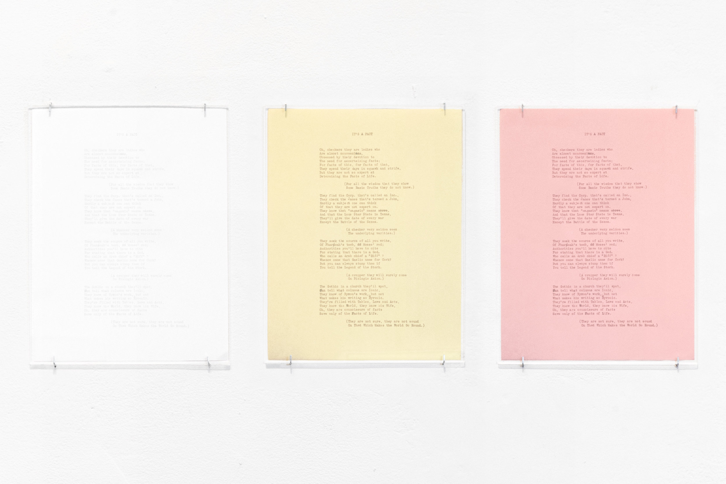 It's a Fact  2018 Blind debossment on 3-part carbonless paper Triptych of 11 x 8.5 in