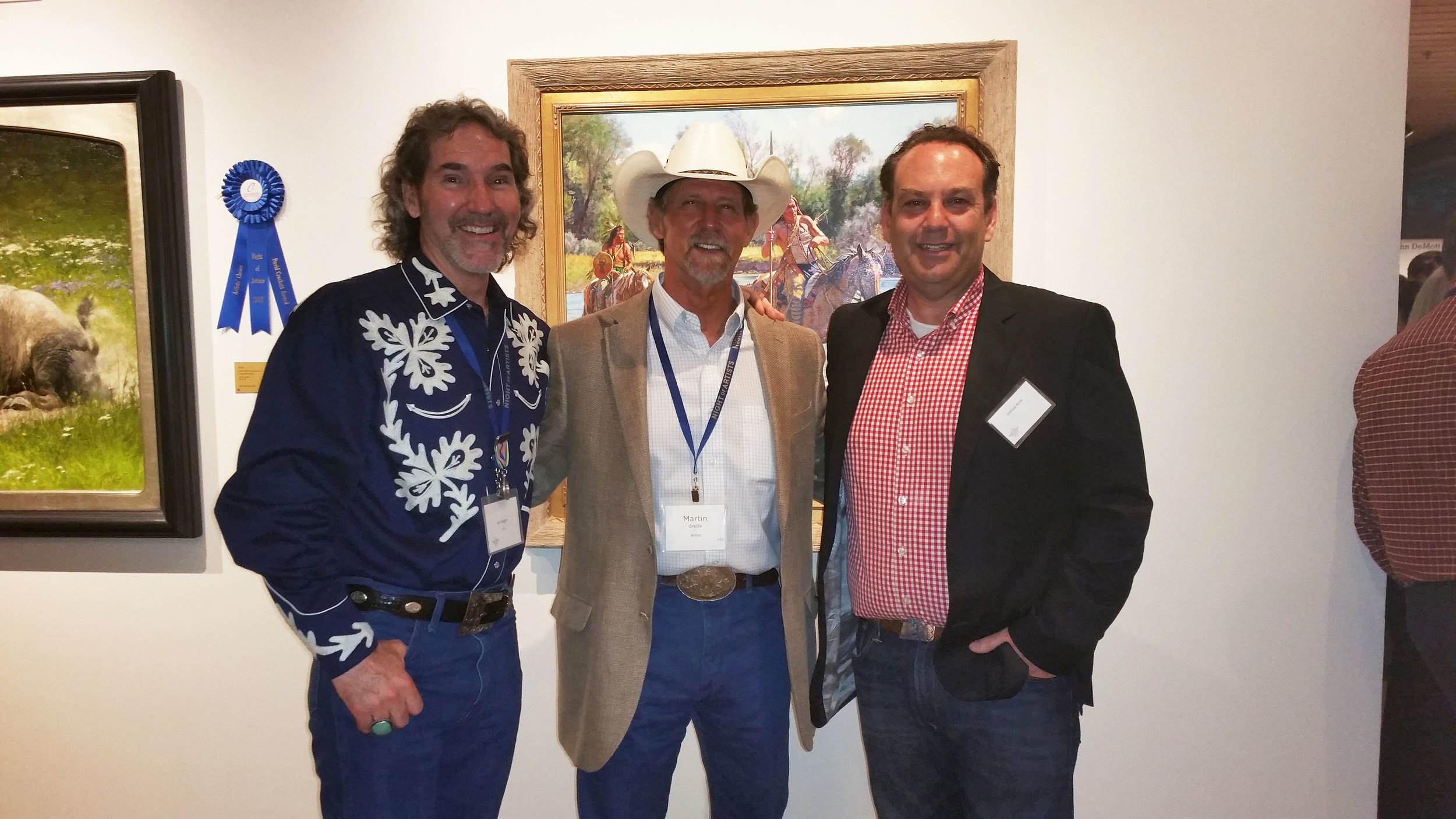 I'm standing with iconic Western artist, Martin Grelle and Joshua Rose, Editor of American Art Collector and Western Art Collector Magazine after the 2018 Briscoe Collector's Summit.